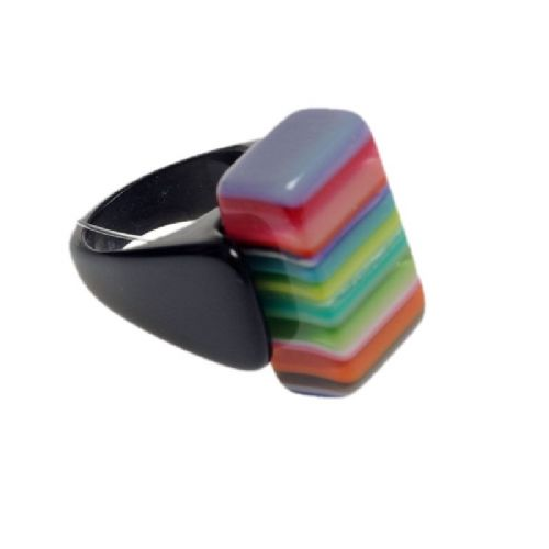 Jackie Brazil Liquorice Rectangle Ring in Mix Colours